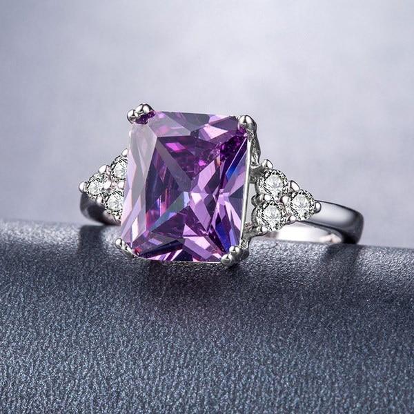 ファッション女性925スターリングシルバーアメジスト&ホワイトトパーズの宝石リングサイズ6 7 8 9 10