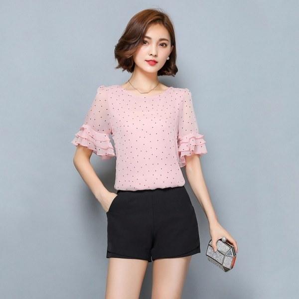 新しい女性のブラウス夏の半袖シフォンブラウスポーランドドット女性のシャツ