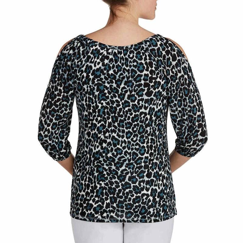 ピーター ナイガード レディース トップス ブラウス・シャツ【Peter Nygard Animal Print Cold Shoulder Top】Black Multi