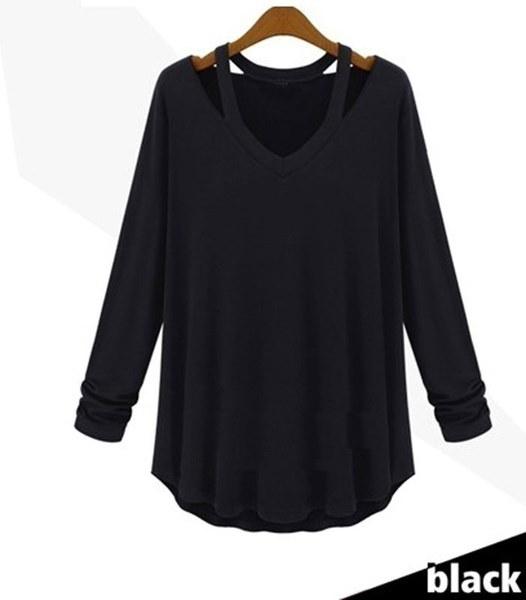 女性のファッションカジュアルロングスリーブVネックコットンティータンクトップシャツブラウス