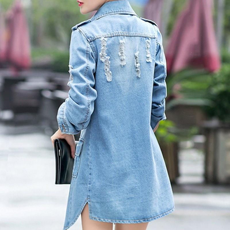 新しいデニムジャケット女性の穴ボーイフレンドスタイルのロングスリーブヴィンテージジーンジャケットデニムルース春オート