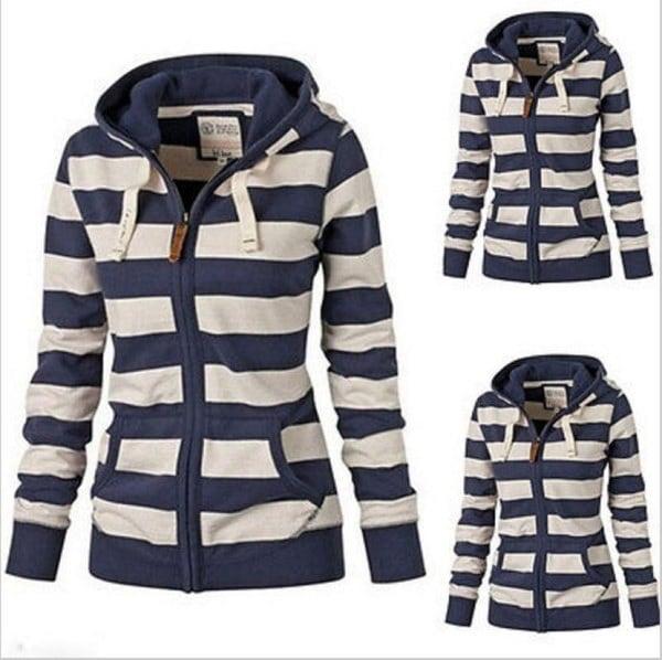 New Autumn Winter European Harajuku Slim Female Hooded Sweater Coat Striped Long Sleeve Blue White W