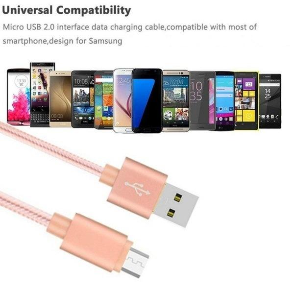 メタルナイロン編組マイクロUSBデータシンク高速充電ケーブルIPhone 7 7 Plus 6 6S Plus 5 5S Samsun