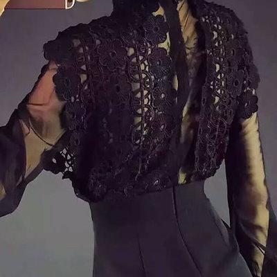 ロングスリーブ 刺繍 オルチャン オルチャンファッション レディース シースルー フラワー レース ワンピース 韓国ファッション