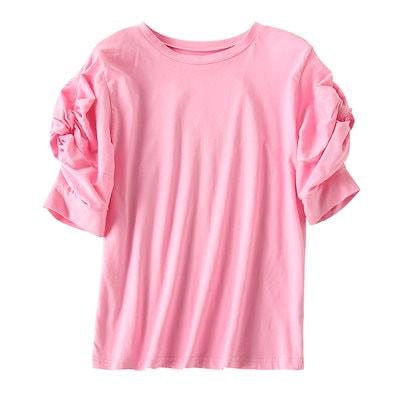 トップス Tシャツ コットン ラウンドネック ガーリー 半袖 春夏 ボリューム袖 レディース 無地 ピンク 重ね着