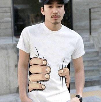 042,10色の大きい手のtシャツ!男の服印刷ホット3Dビジュアルクリエイティブな性格のスプーフィンググレー