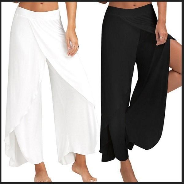 女性ファッションハイスリットワイドレッグルーズカジュアルヨガパンツ、8色、S  -  5XL