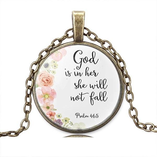 詩編46:5聖書の詩神は彼女の中にあります。彼女は落ちません。Nursery Verse Necklace