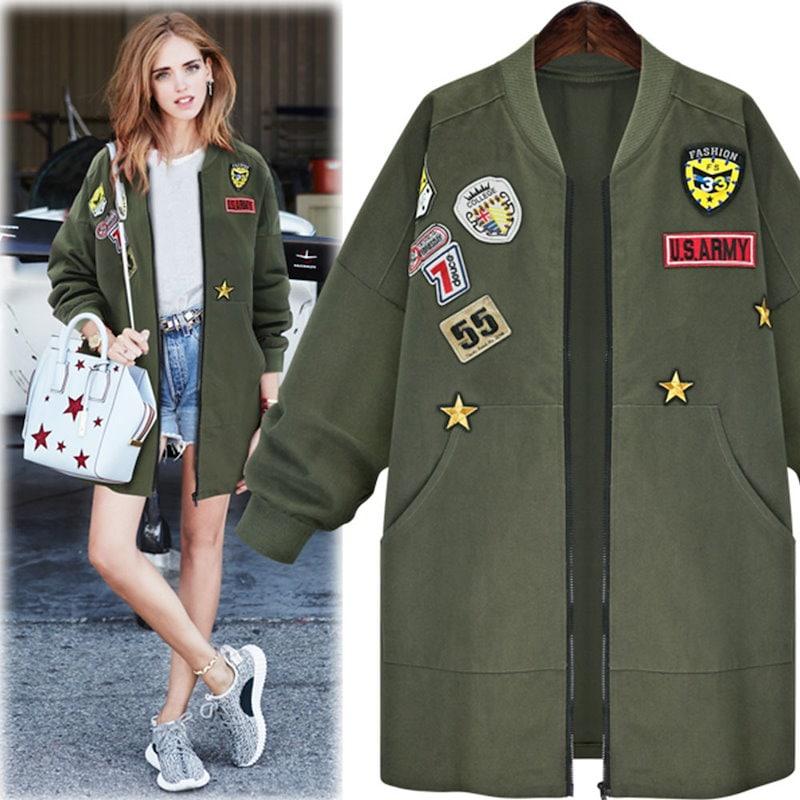 プラスサイズ5XLボンバージャケットコート女性の春秋の長袖のバッジパッチ刺繍アーミーグリーンロング生き抜くコート