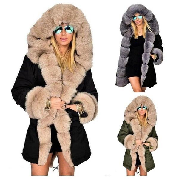 女性のパーカーカジュアルなアウトレットフード付きコートファーコートマンタウFemme女性の服プラスサイズS-5XL
