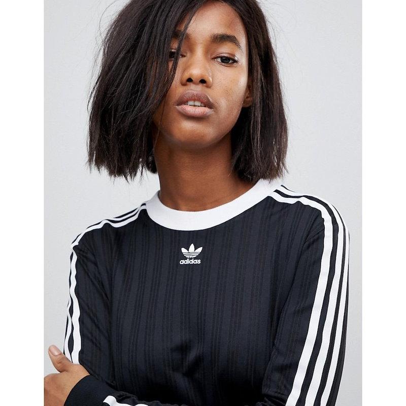アディダス レディース トップス【adidas Originals Three Stripe Jersey In Black】Black