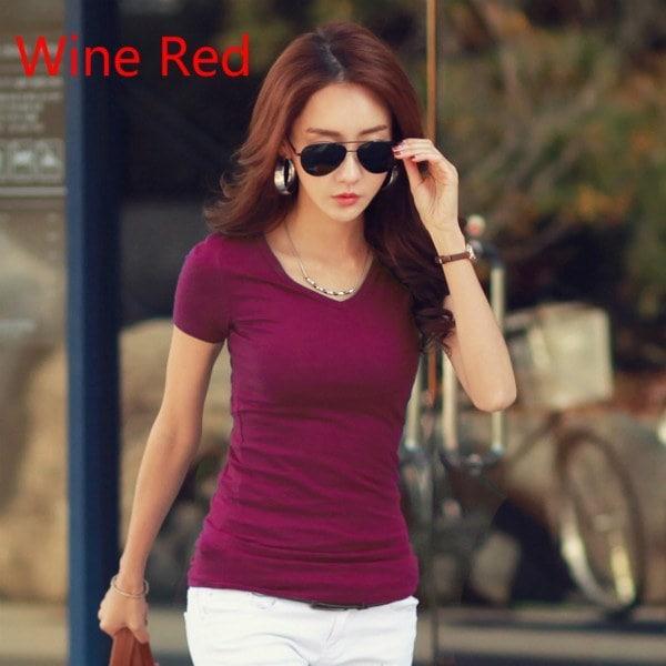 高品質Vネックキャンディーカラーコットン基本的なTシャツ女性プレーンシンプルなTシャツ女性のためのショートスリーブ