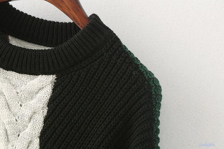 2017秋冬 レインボーセーター ゆるニット ラウンドネック  綺麗め セーター 配色 ニットトップス ロング袖 レディース ふんわり厚手