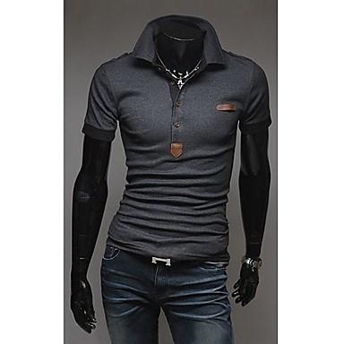 Men s Slim Epaulet Short Sleeve POLO T-Shirt #00620511