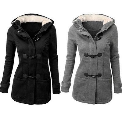 Winter Women Double-breasted Wool Coat Hoodies Parka