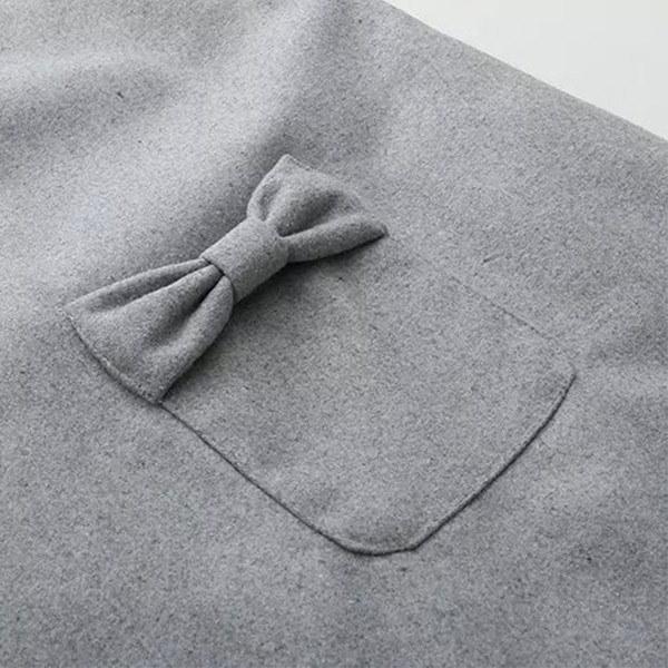 送料無料Aライン ワンピース ノースリーブ 折襟 丸襟 ポケット飾り リボン レディース 森ガールワンピース 無地 シンプル ラシャワンピー