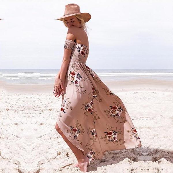 2017ラップ胸プリントドレススカート海辺の休暇ビーチドレス