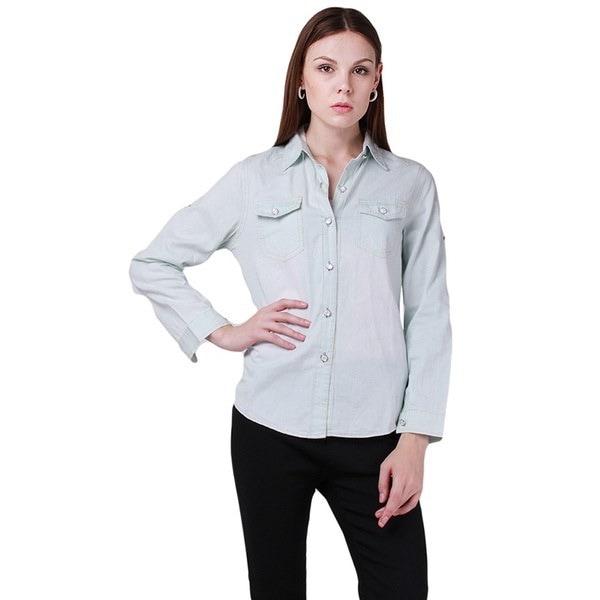 秋の冬の女性のデニムカットトンシャツコートロングスリーブ女性衣類ジーンズシャツカジュアルブラウス