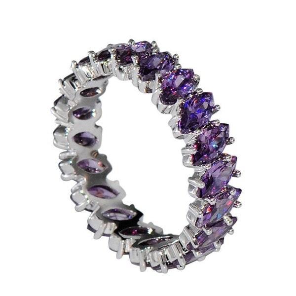 女性チャーミング925スターリングシルバーマーキーズカットアメジストリーフ結婚指輪