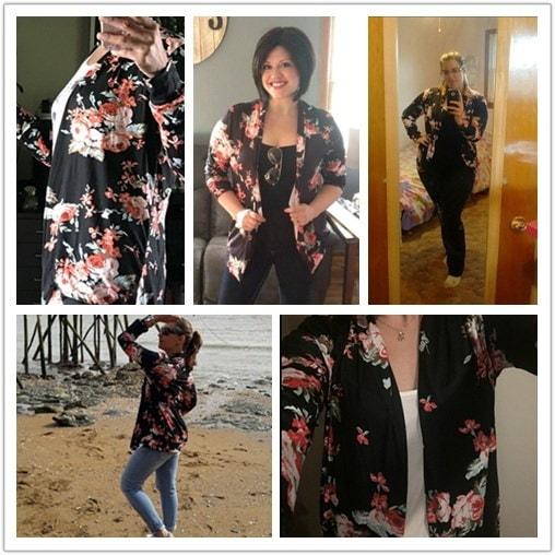 ホットセールレディースファッションルーズアウターウェア花柄ジャケット女性着物花プリントトップス長袖ラ
