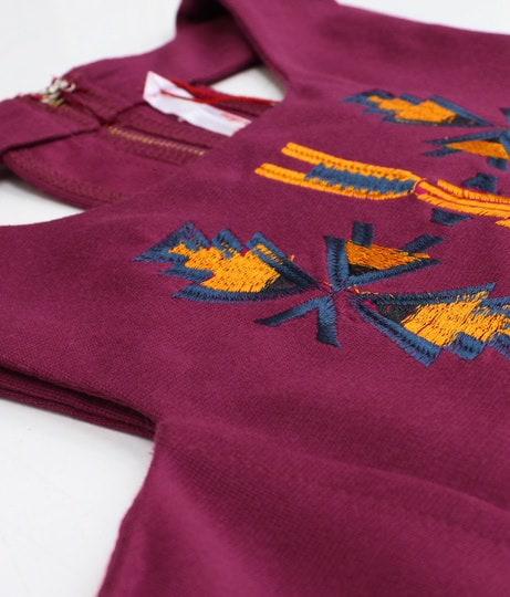 ネイティブ刺繍バックオープンワンピース