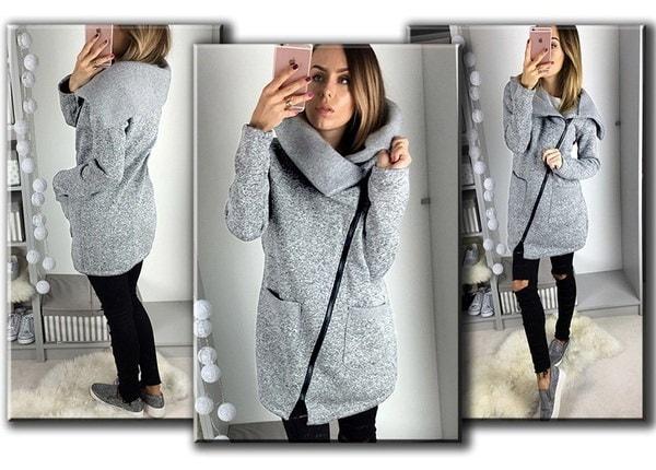 ファッションサイドジッパーパッチワークウォームフード付きスエットシャツジャケット