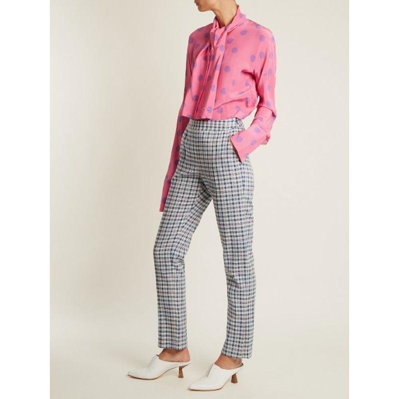 ナターシャ ジンコ レディース トップス ブラウス・シャツ【Tie-neck polka-dot silk-crepe blouse】Bubblegum-pink