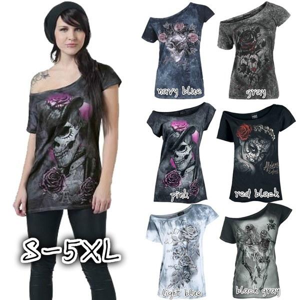 女性のファッションブラウススカルジェントルマンローズプリントラウンドネック半袖パンクコットンTシャツ