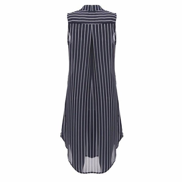 女性夏VネックノースリーブストライプルーズロングトップTシャツミニシャツドレス