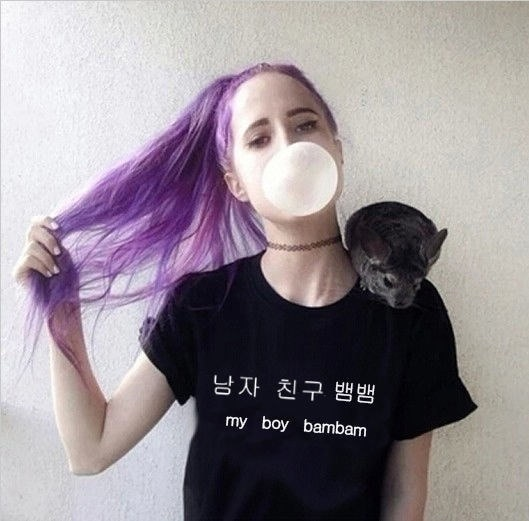 Kpop GOT7バンバムTシャツコットンレディースTシャツ半袖服