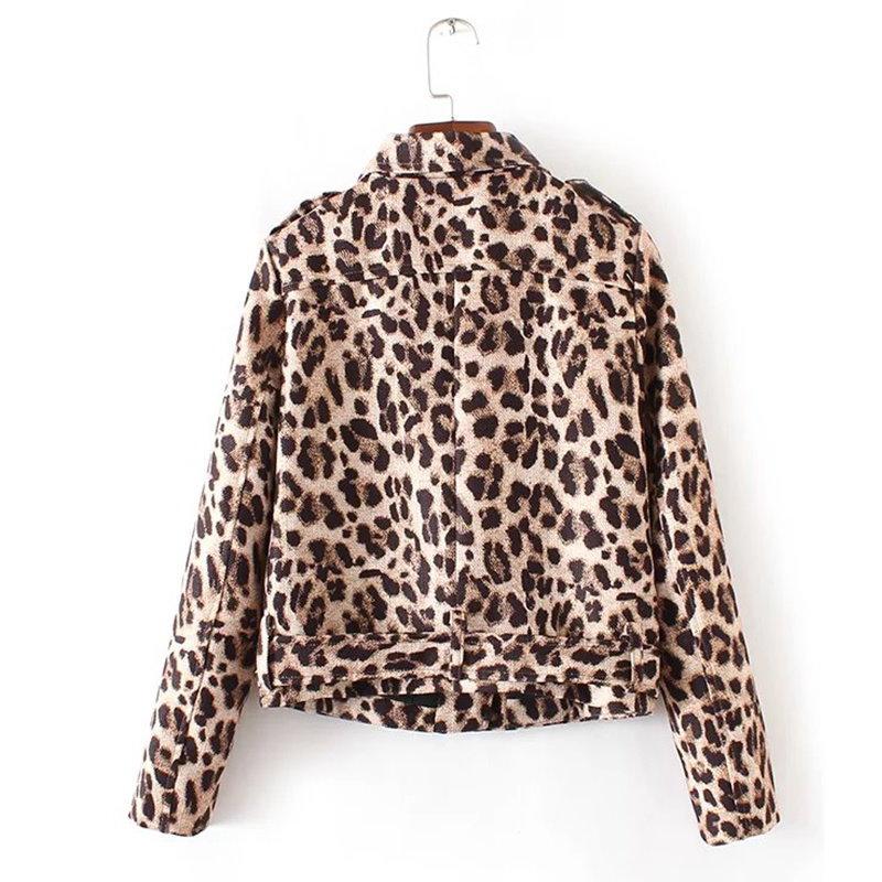 ファッション秋のヴィンテージヒョウジャケットスリムジッパーロングスリーブコージーカジュアルショート女性のジャケットブランドMUJER Yd8246トップス
