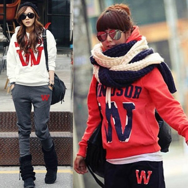 Popular Women Sweatsuit Sweatpants Hoodie Pants Sweatshirt Coat Tracksuit Sports