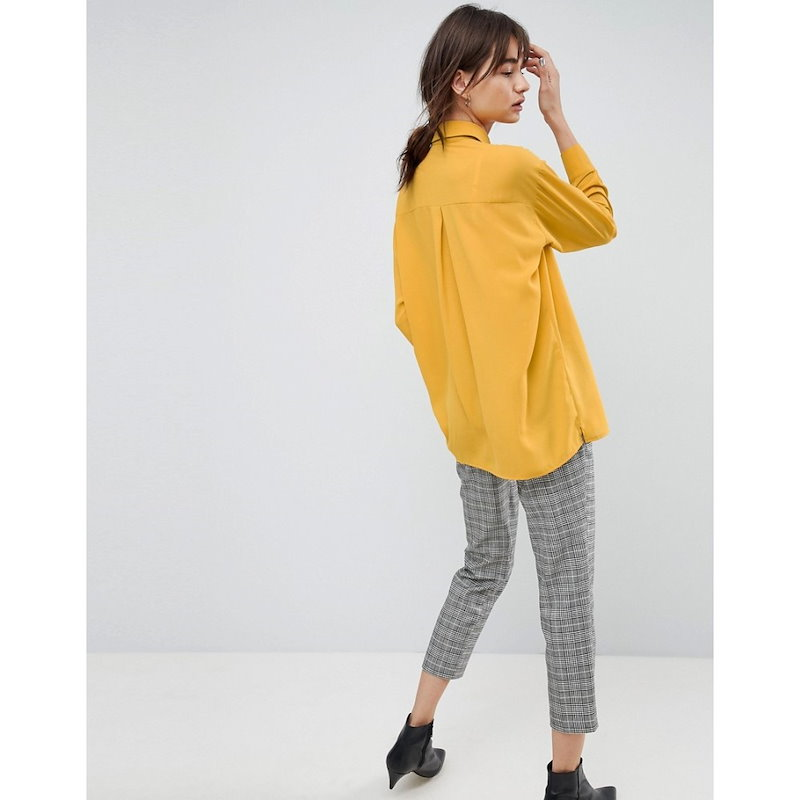 エイソス レディース トップス ブラウス・シャツ【ASOS Longline Soft Shirt】Mustard