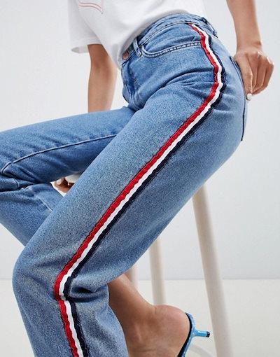 ニュールック レディース デニムパンツ ボトムス New Look Side Stripe Mom Jean