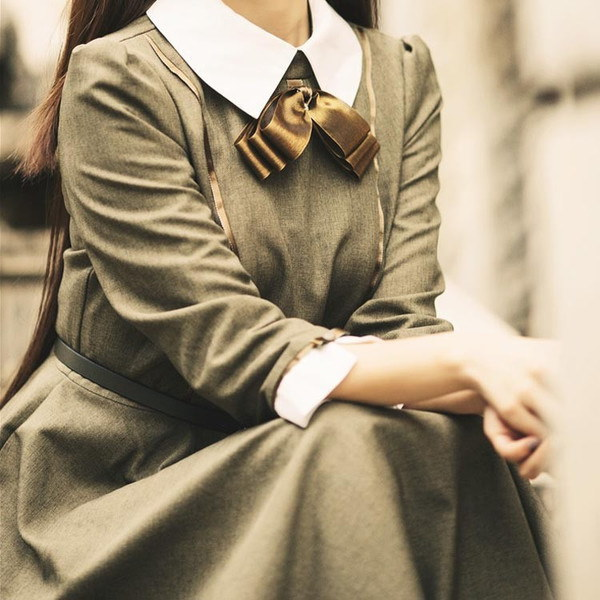 レトロイワンピース 中世 ワンピース 春ワンピース リボン 丸襟 ワンピース Aライン ワンピース フレアワンピース お嬢様 ワンピース ワ