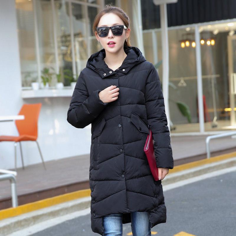 Kuyomens新しいファッション冬のジャケットの女性のロングスタイルパーカーコートスリムカジュアル冬のコートの女性暖かいパーカープラスサイズのマントファム