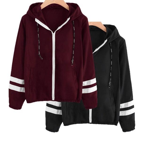 ファッション女性春と秋ロングスリーブパーカースウェットストライプジップアップフード付きジャケット