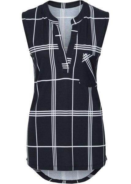 2017レディースファッションノースリーブ格子Vネック裾チュニックシャツタンクトップ