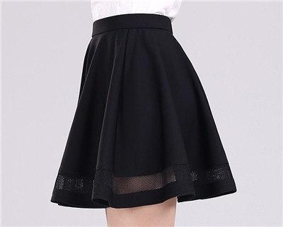 新しい女性スカートグリッドデザインプリーツ膝丈スカート2色黒と濃い赤パーティードレス