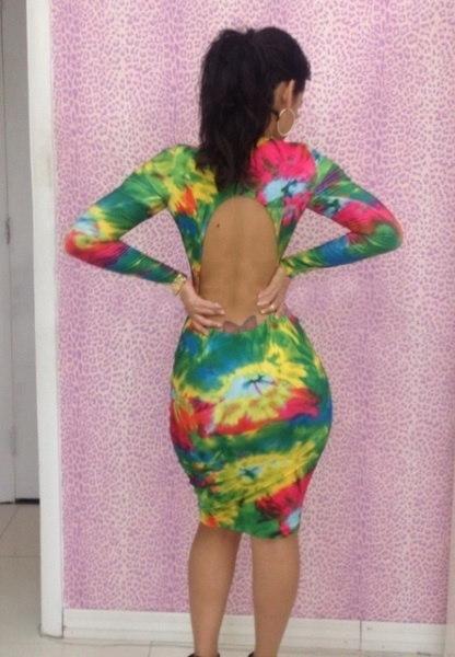 ファッション女性のカラフルなプリントの深いVネックセクシーなカクテルクラブの着用バンデージドレスSL