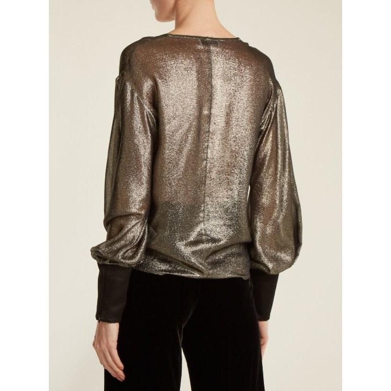 アマンダ ウェイクリー レディース トップス【V-neck draped lam? top】Gold
