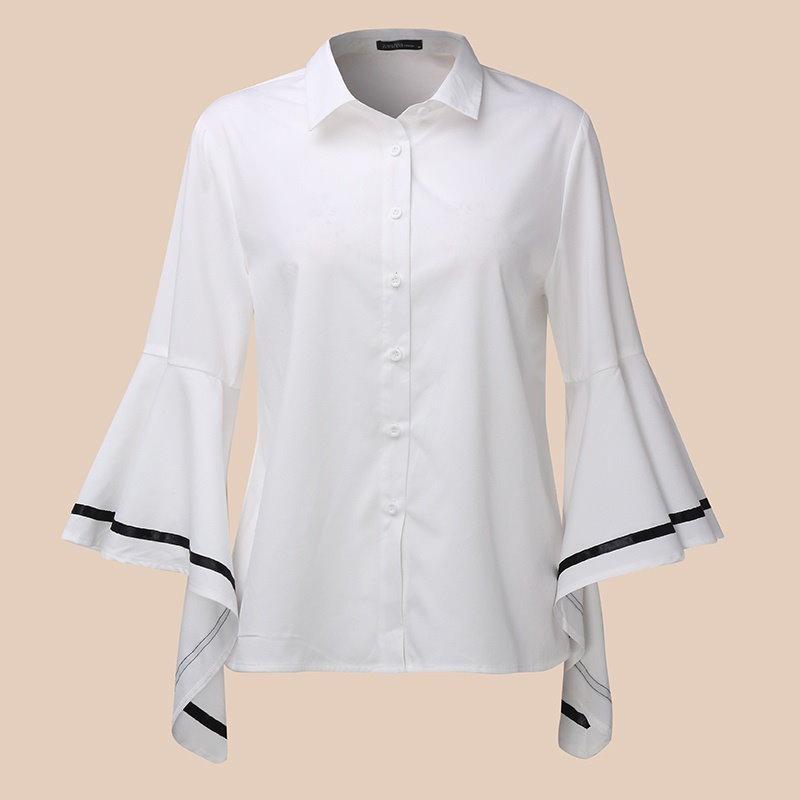 女性のストライプパッチワークベルスリーブルーズカジュアルブラウスシャツトッププラス