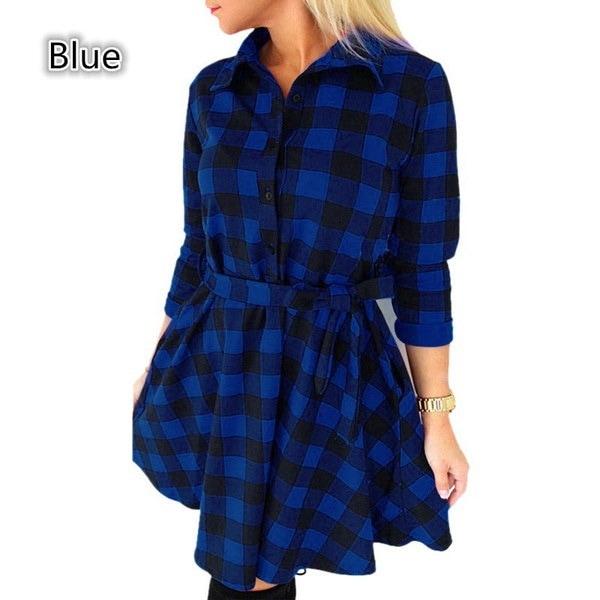 女性のチェック柄のドレスのグリッドブラウスドレスファッション3/4スリーブミニVestidosベルトS  -  4XL