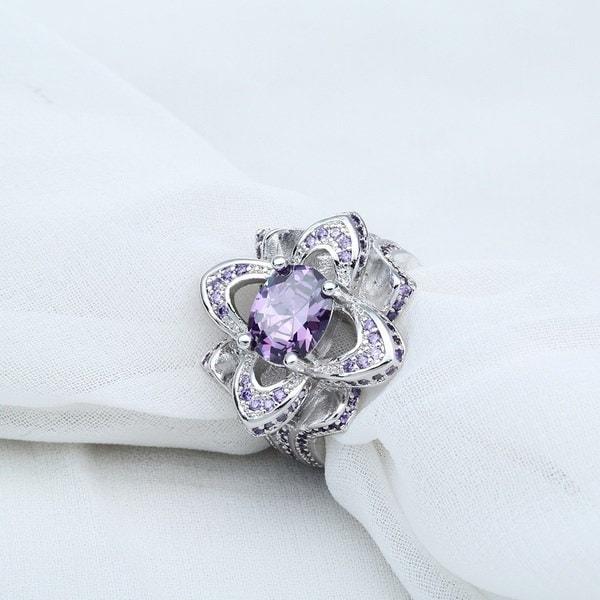 ゴージャスな男性と女性のオーバルアメジストジュエリー925スターリングシルバーの婚約指輪ギフト