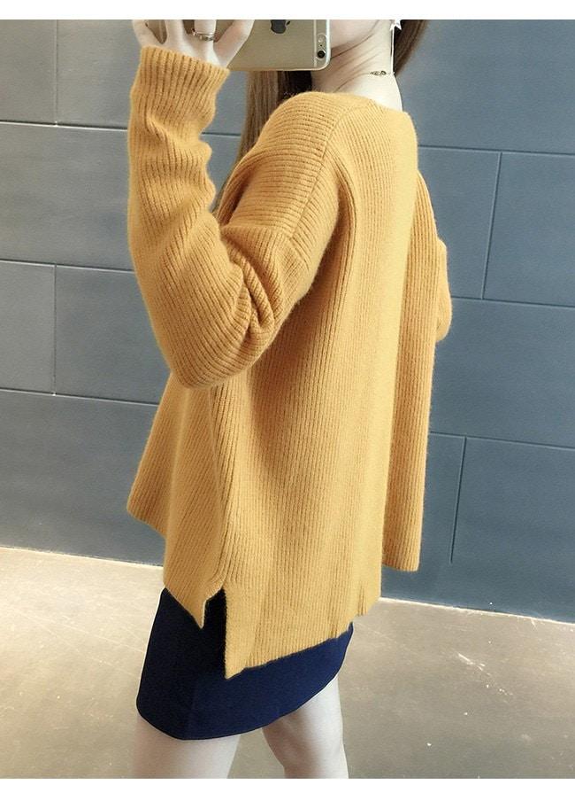 レディースファッション 女性 トップス プルオーバー ニット素材 セーター Vネック インナー カットソー フリーサイズ 無地 カラバリ 抜け感 通勤 あったか