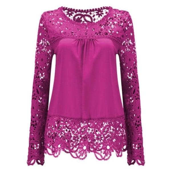 スウェーラージサイズファッション女性レースロングスリーブシフォンブラウスシャツクロセットブルサトップスブルサスフェミ