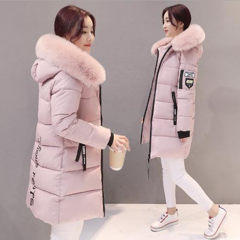 女性の冬のジャケットプラスサイズアーミーグリーンレディースジャケット厚い毛皮フード付きロングダウン綿パッド入りの女性のコートパーカー