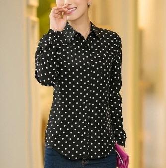 ファッション女性ブラウスプラスサイズroupas femininasカジュアルポルカドットシャツフルスリーブトロピカルロングチー