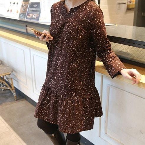 [ClicknFunny] Cotton Pattern Pattern Dress OP4355 Korean fashion style