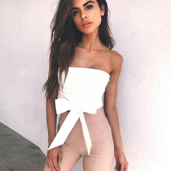 セクシーな女性Bodycon CropトップブラウスソリッドバンデージオフショルダーバックレスノースリーブカジュアルClubwear To